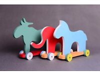 Moose, horse, elephant photo prop for toddler photographer, animal on wheels, wood toy