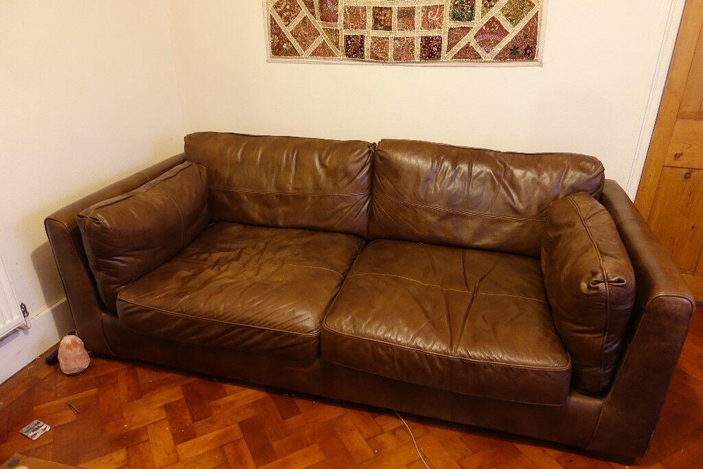 Alexander & James | Furniture Village Shalimar 3 Seater Full Leather Sofa