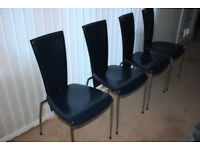 4x ARPER Italian navy blue leather and chrome dining chairs