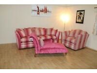 Burlington hot pink fabric 3 seater grand sofa, patterned fabric snuggler chair and fabric chaise