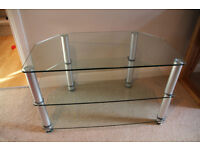 Clear Glass and Aluminium TV Stand for TVs up to 40""