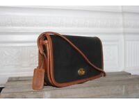 Vintage Coach Bag Crossbody Dinky Spectator Leather Black Tan Brown Turnlock Designer