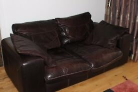 Leather 2 seater sofa + 2 chairs