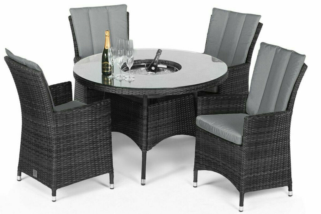 Maze Rattan La 4 Seat Round Dining Set With Ice Bucket Table Grey