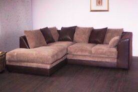 BROWN AND LIGHT BROWN- WOW New BYRON Jumbo Cord Corner or 3 and 2 Seater Sofa Suite --High Quality--