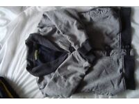 childs blue dressing gown age 5/6 years.grey cardigan age 7/8 years