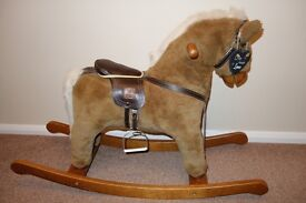 BARGAIN EXCELLENT CONDITION MAMAS AND PAPAS FUR AND WOOD ROCKING HORSE