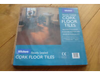 ONE PACK OF WICKES READY SEALED CORK FLOOR TILES 9 TILES APPROX .84 Sq Mtrs