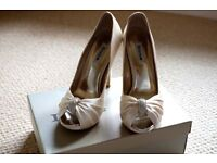 Dune Stunning white high heel wedding shoes + Gold evening sandals SIZE 38