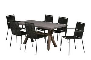ASTA 7 PIECE CONCRETE OUTDOOR DINING SETTING – GREY