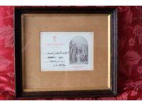 Antique baptism certificate in classic Edwardian oak frame with gilt slip
