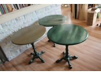 Upcycled Vintage Pub Table, Cast Iron Base, Green/Gold Hammered Metal Finish