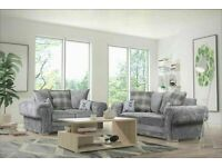 SALES ENDING SOON! ON VERONA CHESTERFIELD GREY PLUSH FABRIC 3+2 SOFA SUITE AND CORNER UNIT ON SALE!!