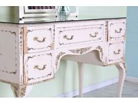 LOUIS FRENCH STYLE DRESSING GLASS TOP TABLE & MIRROR SHABBY CHIC - CAN DELIVER