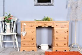 DELIVERY OPTIONS - LOVELY 9 DRAWER WAXED PINE DRESSING TABLE - DESK TWIN HANDLES