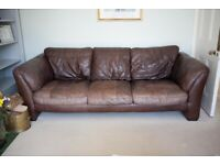 Brown leather 2 seater & 3 seater settee with footstool for sale