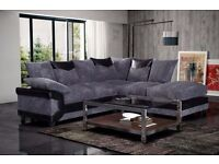 **FREE DELIVERY** BRAND NEW DINO CORNER SOFA IN JUMBO CORD FABRIC/LEATHER 3+2 SUITE BLACK, BROWN