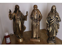 3x 24 inch Christian Catholic Brass Bronze Statues sacred heart of Jesus and Saint