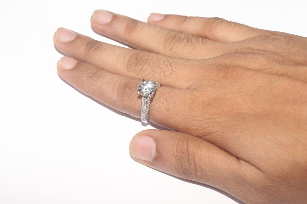 Real 14K White gold 2.45ct Diamond Round Brilliant Anniversary Engagement Ring
