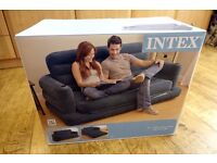 INTEX INFLATABLE DOUBLE AIR SOFA + PULL OUT BED + CUP HOLDERS AROUND £80 NEW