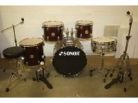 Sonor Force 505 Wine Red 5 Piece Full Drum Kit (20in Bass) + Stands + Stool + Cymbals