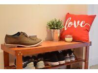 Songmics Bamboo Shoe Rack Bench Storage Organiser Holder 90 x 45 x 32 cm brown LBS90Z