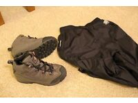 Kids Karrimor Walking Boots size 12 and Karrimor water proof trousers age 7-8
