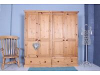 DELIVERY OPTIONS - SOLID PINE QUADRUPLE WARDROBE 2 DRAWERS W TONGUE & GROOVE SOLID THROUGHOUT