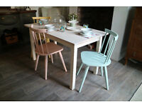 Ercol Style Dining Chairs and Table, Shabby Chic Table and 3 Chairs