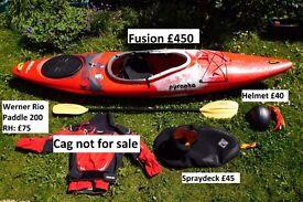 Pyranha Fusion cross-over Kayak, paddle and gear