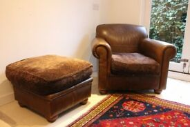 Tetrad Leather Chair and Matching Foot-stool