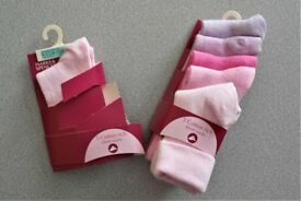 Brand new M&S six pairs of girls socks age 6 -12 months