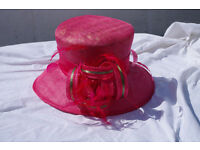 Fuscia pink hat with decoration. Wedding hat worn once. Excellent condition