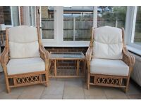 Conservatory furniture set - 2 armchairs and coffee table