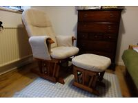 Tutti Bambini Glider Rocking Nursing Chair and Stool in Natural