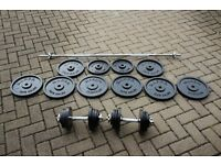 Marcy 120kg cast iron weights set - barbell and pair of dumbells (standard weights not olympic)
