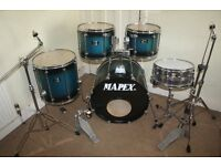 Vintage 1990s Mapex Mars Pro Blue to Black Burst Lacquer 5 Piece FULL Drum Kit Sabian Solar Cymbals