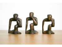 Vintage Set of 3 Hand Made African Thinking Man Mahogany Wood Statue Sculptures Made In Africa