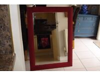 lovely large mirror, painted annie sloan chalk paint bergundy