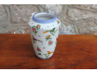 Vintage Handmade Italian Vase Studio Pottery Planter Birds and Bugs Design Insect