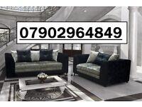 2017 CRUSH VELVET RANGE NOW IN 3+2 sofa black and silver