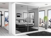 BEST SELLING BRAND -- Brand New Chicago Fully Mirror Wardrobe Hanging Rails And Shelves Black White