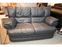 Must go: Excellent condition real leather blue sofa and matching arm chair