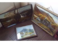 3 vintage wall hanging pictures/paintings 2 signed