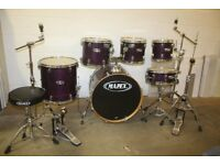 Mapex M Series Violet Lacquer 6 Piece Drum Kit (22in Bass) + Stands + Stool + Meinl HCS Cymbal Set