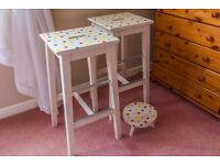 Polka dot Kitchen stools in the spirit of Emma Bridgewater brand new