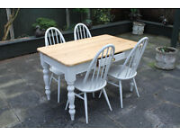 beautiful shabby chic pine table with four chairs