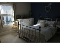 Next Leamington cream & brass double bed and John Lewis quality mattress.