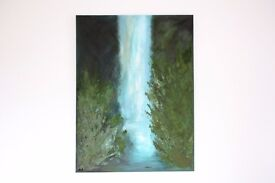 """Large Modern Original Abstract Art. Tropical Waterfall Acrylic Painting on 30 x 40"""" Canvas"""
