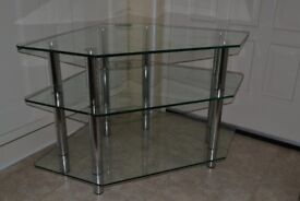 High quality glass & chrome TV /audio corner stand in excellent condition only £10